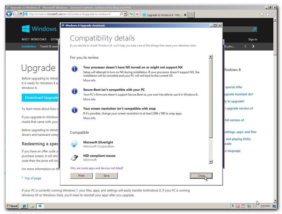 Windows 8 Upgrade Assistant report that shows compatibility details