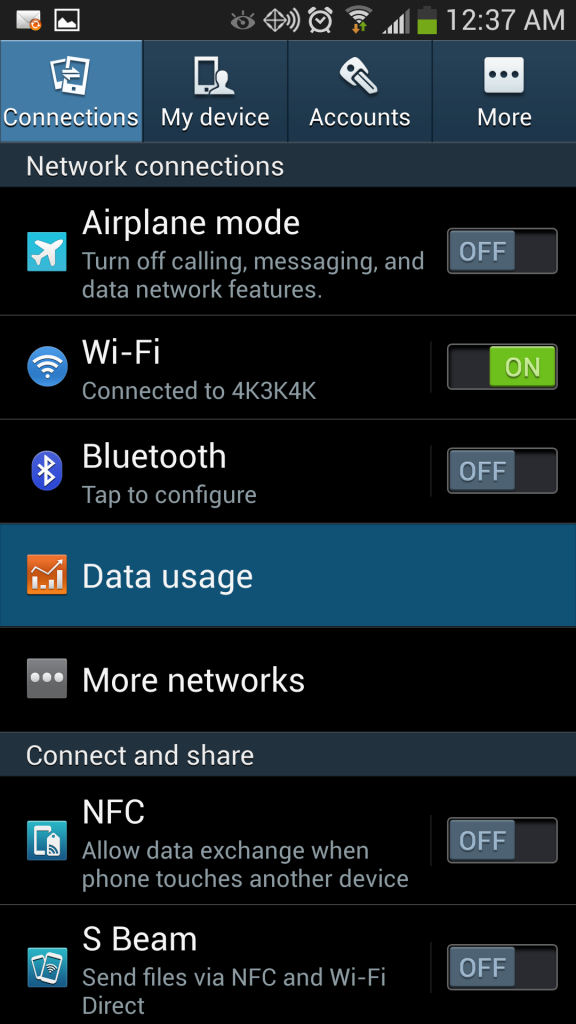 Samsung Galaxy S4 Data Usage Settings