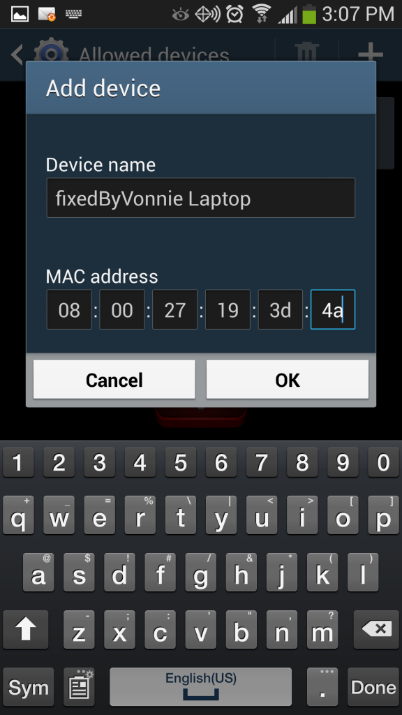 Galaxy S4 Mobile Hotspot enter MAC address of allowed device