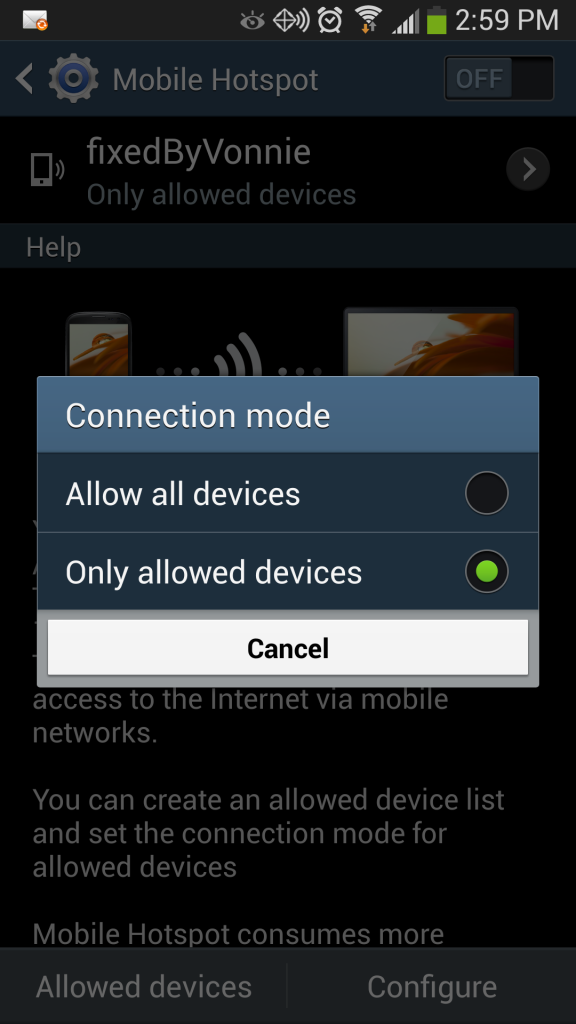 Galaxy S4 Mobile Hotspot connection mode