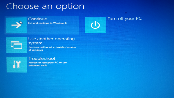 Windows 8 USB Recovery Drive Boot Screen Options