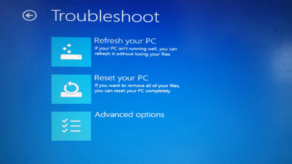 Windows 8 USB Recovery Drive Boot Screen Option Troubleshoot