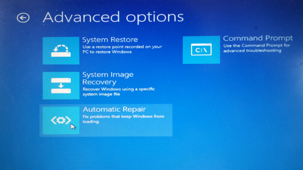 Windows 8 USB Recovery Drive Boot Screen Advanced Options