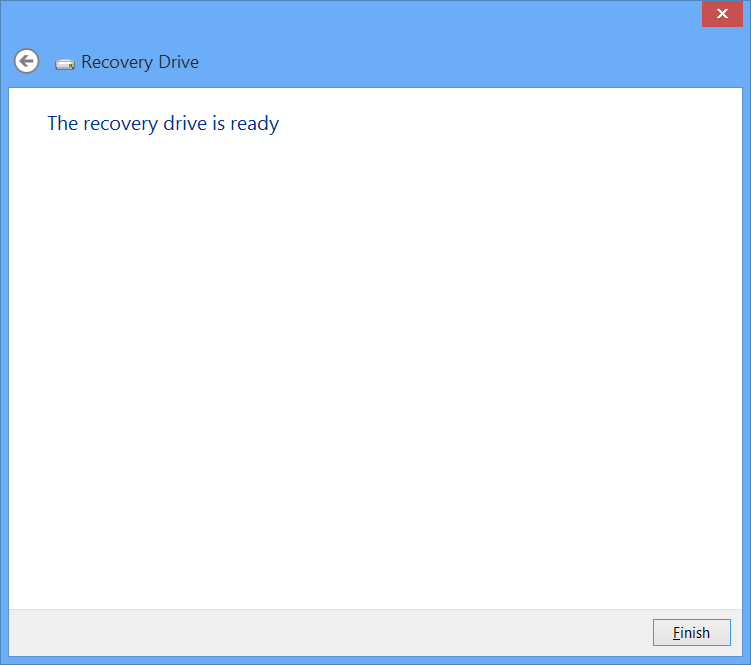 Windows 8 USB Recovery Drive Wizard Finished