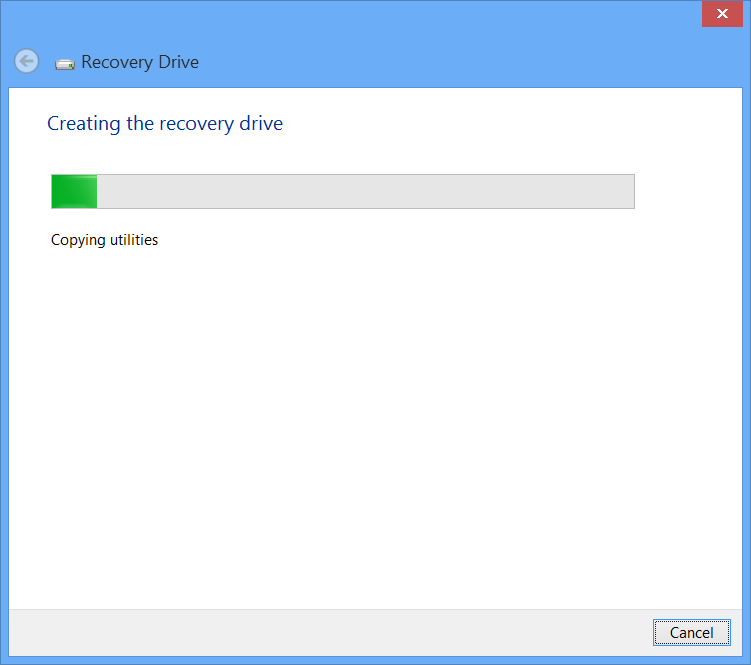 Windows 8 USB Recovery Drive Wizard Creating Drive