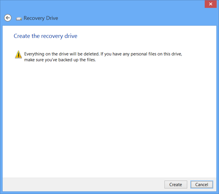 Windows 8 USB Recovery Drive Wizard Create Drive