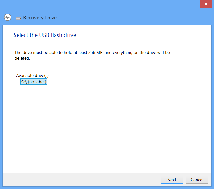 Windows 8 USB Recovery Drive Wizard Select Drive