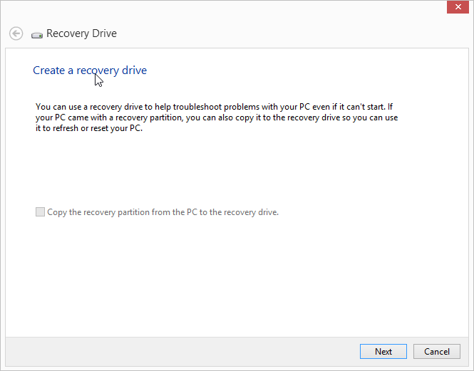 Windows 8 USB Recovery Drive Wizard