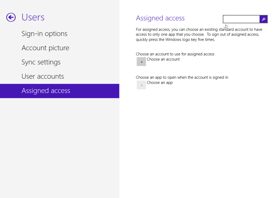 Assigned Access in Windows 8.1 build 9385