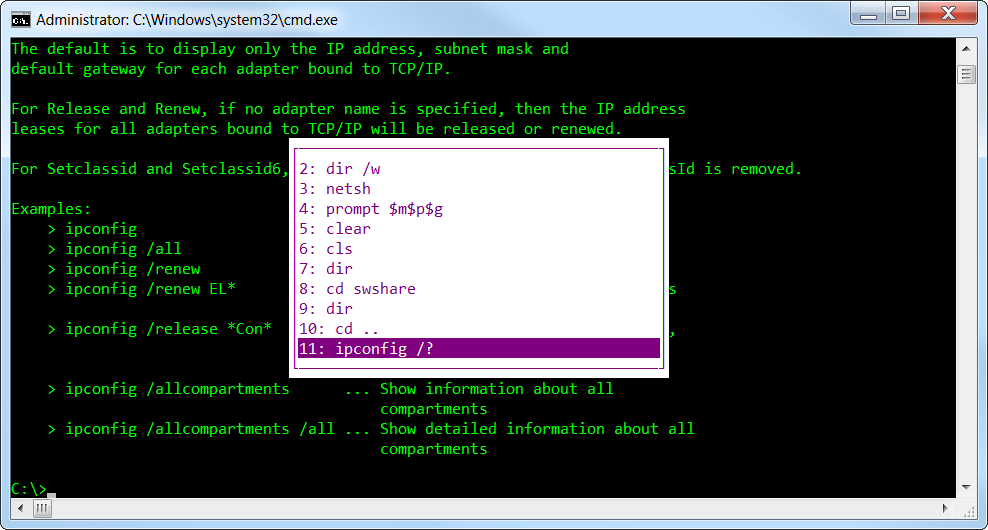 Command Prompt History with F7