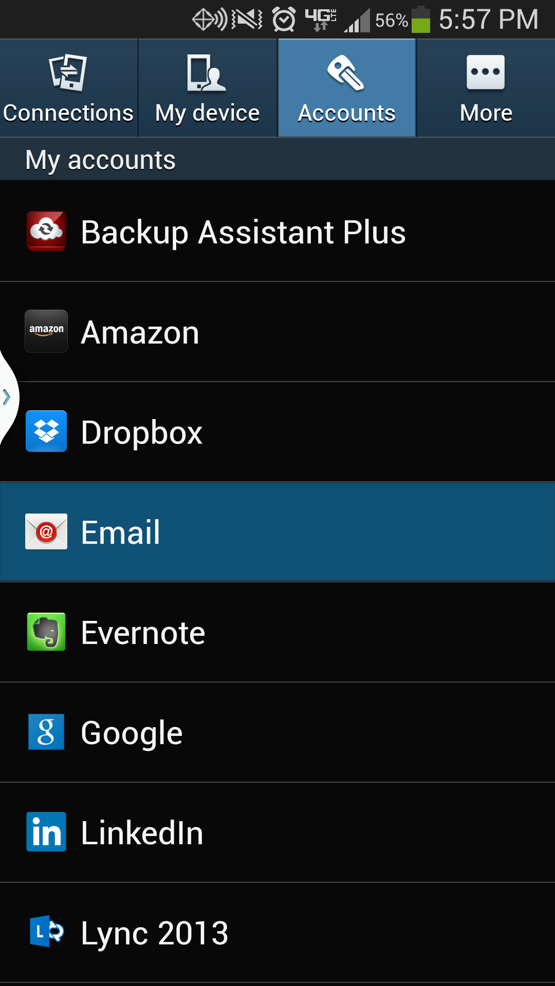 Galaxy S4 Email Option