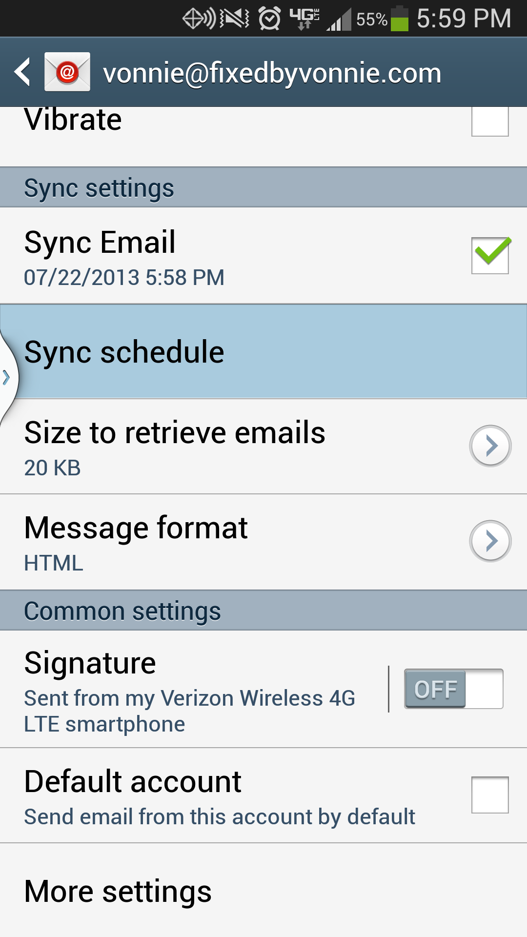 Galaxy S4 Email Sync Schedule