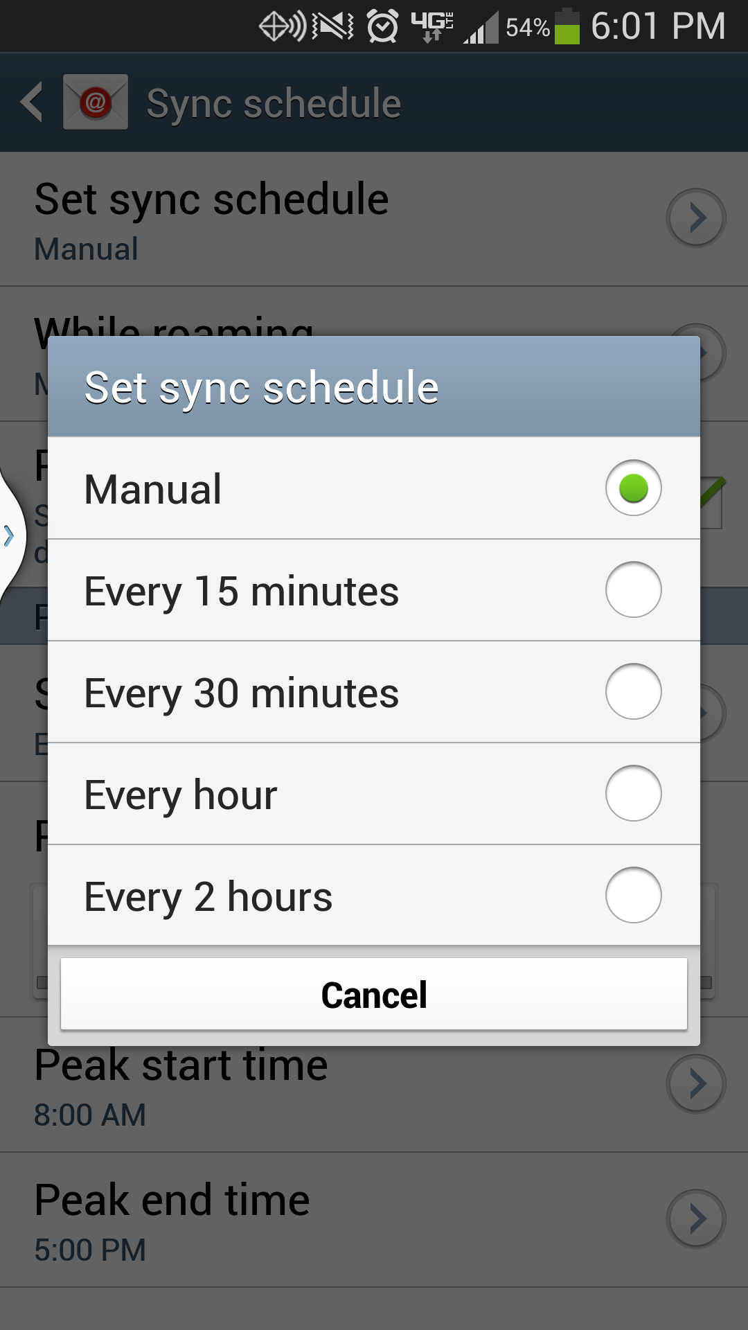 Galaxy S4 Set Sync Schedule to Manual