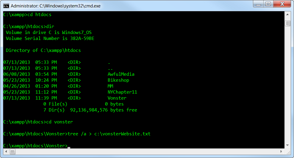 Command Prompt tree /a command