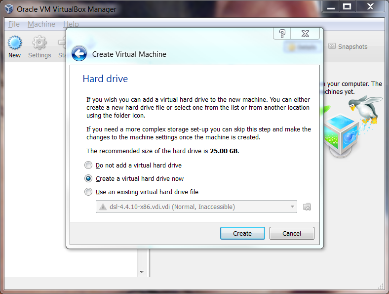 VirtualBox create a Virtual Hard Drive