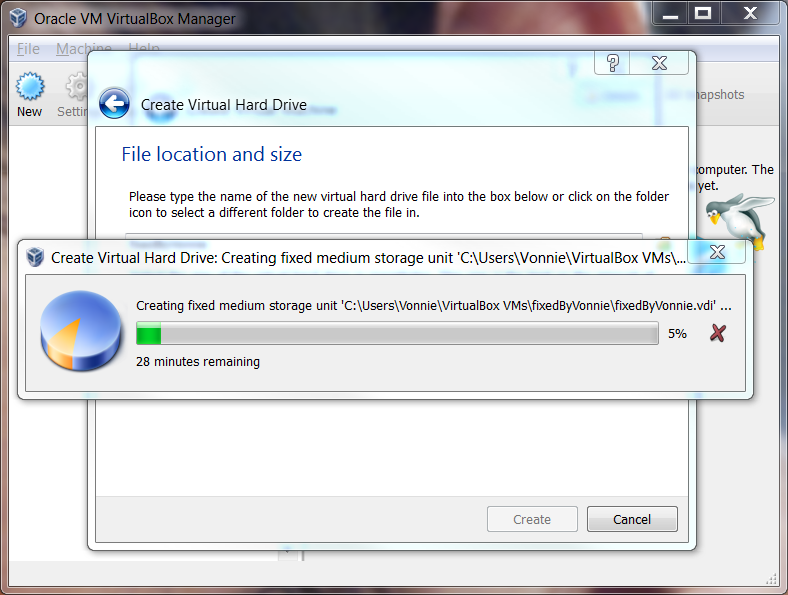 VirtualBox Allocating space for the Virtual Harddrive