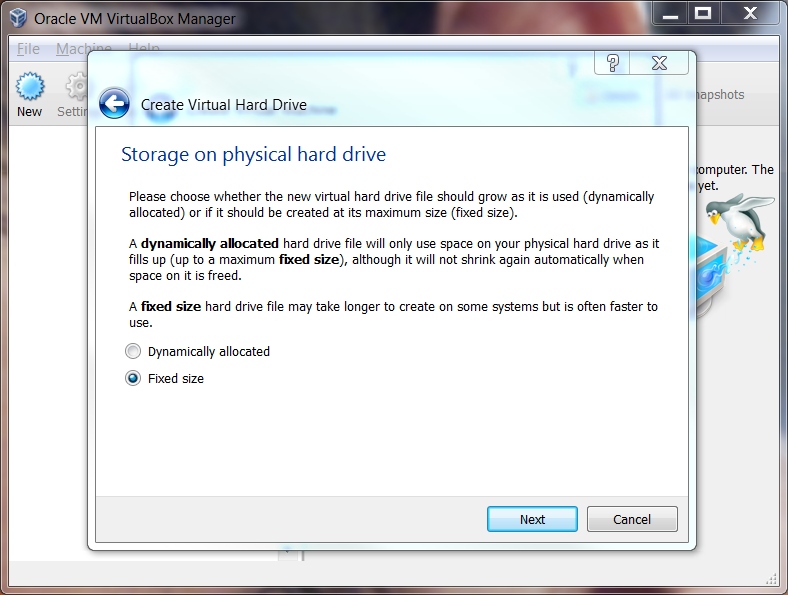 VirtualBox Set the Virtual Harddrive Fixed