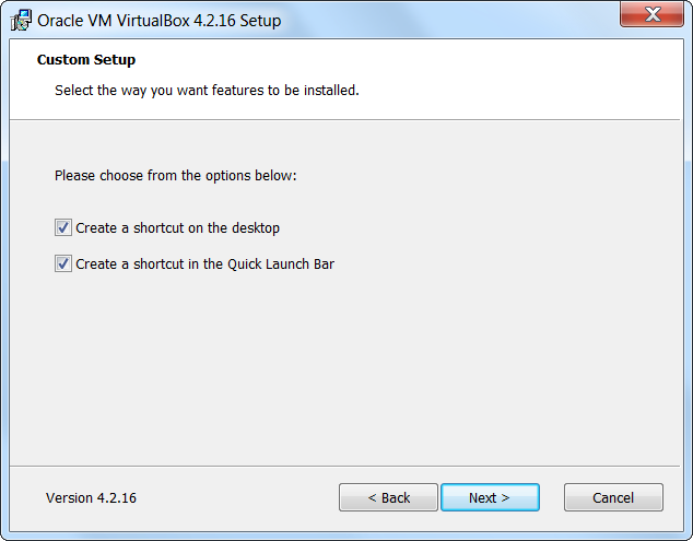 VirtualBox Setup Click Next