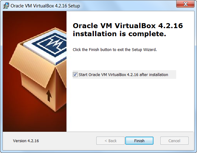 Virtualbox Finished Setup