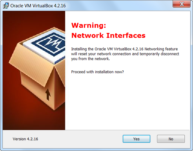 VirtualBox Interface Warning
