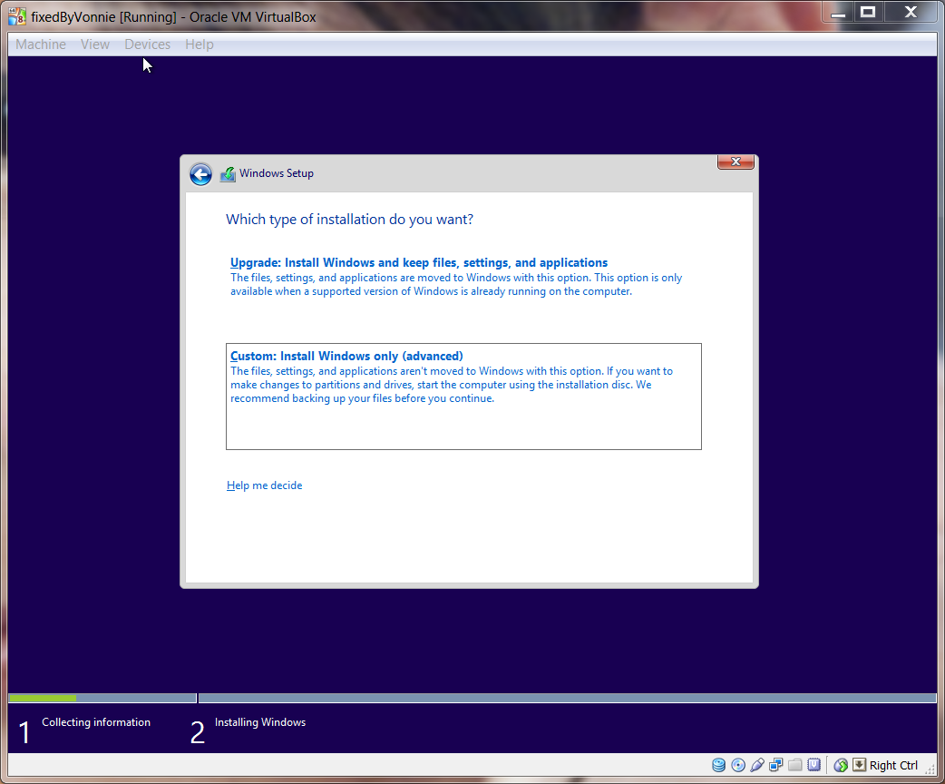 Windows 8.1 Choose Custom Install