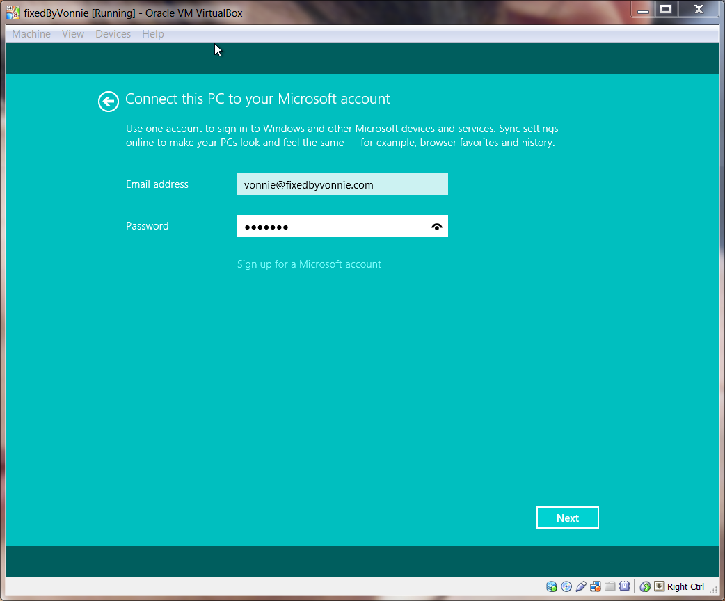 Windows 8.1 Connect to Microsoft Account