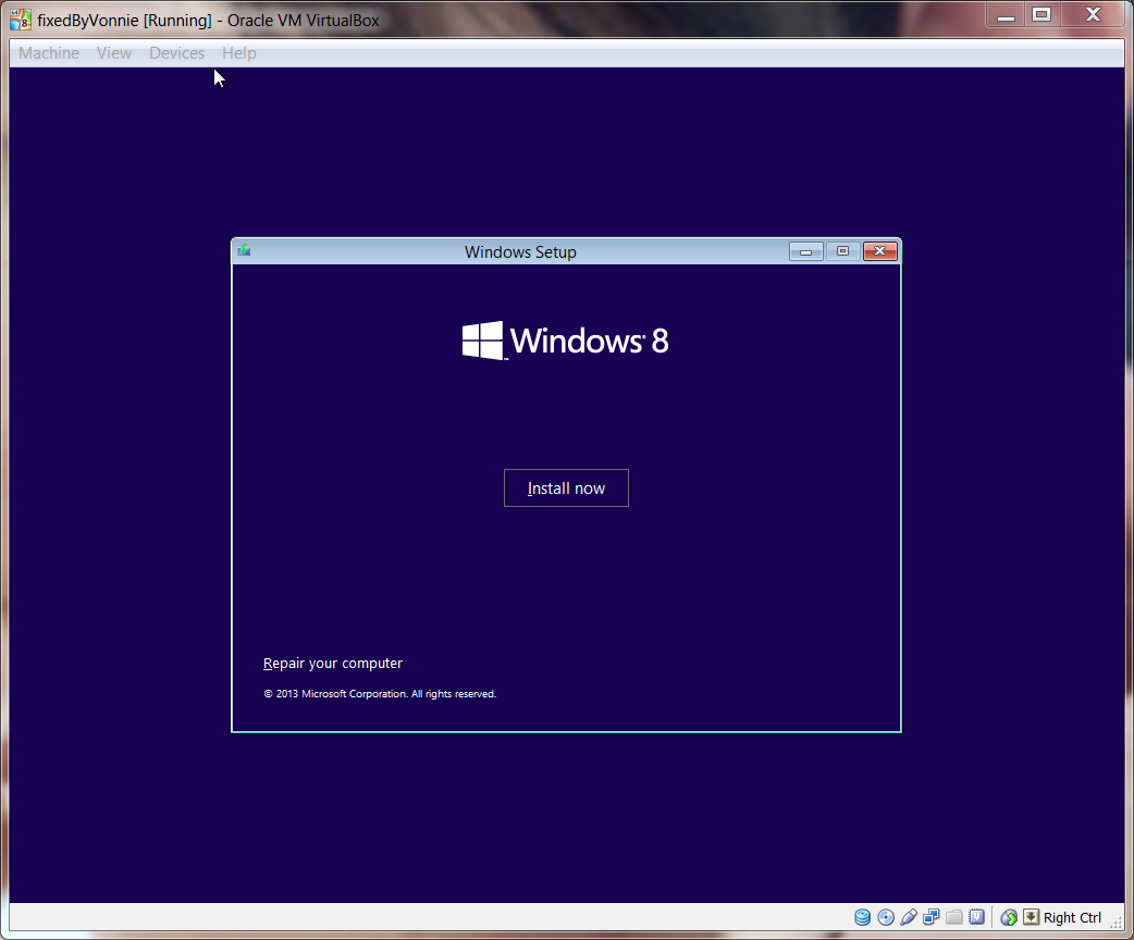 Windows 8.1 VirtualBox Install