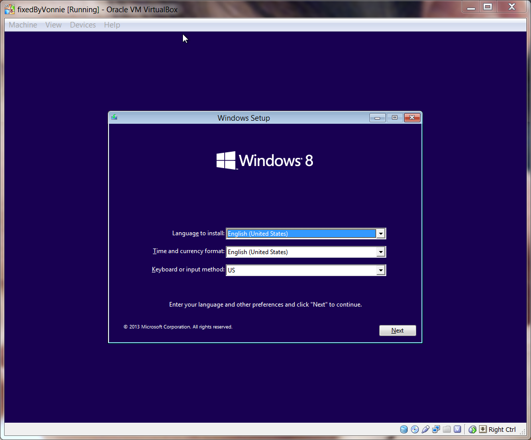 Windows 8.1 VirtualBox Setup Screen