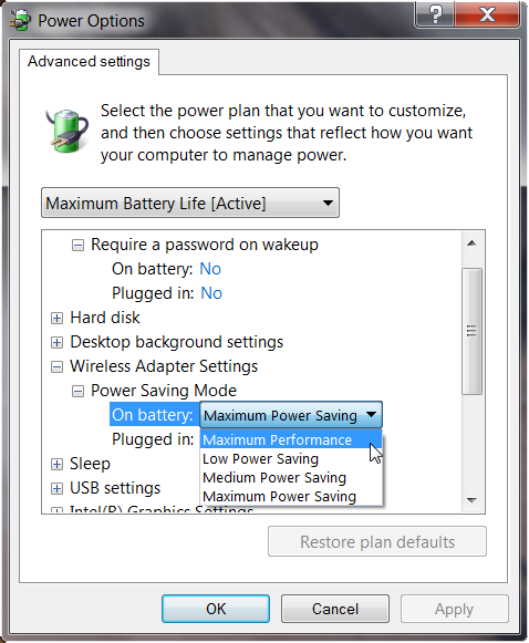Change wireless adapter to never sleep in Windows 7