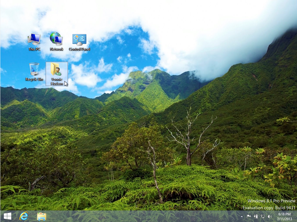 Windows 8.1 show desktop icons