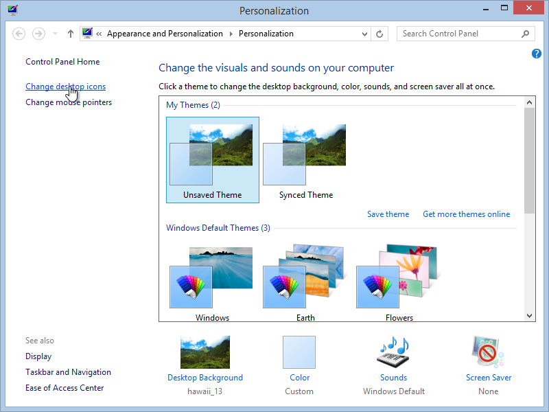 Windows 8.1 Personalization Settings