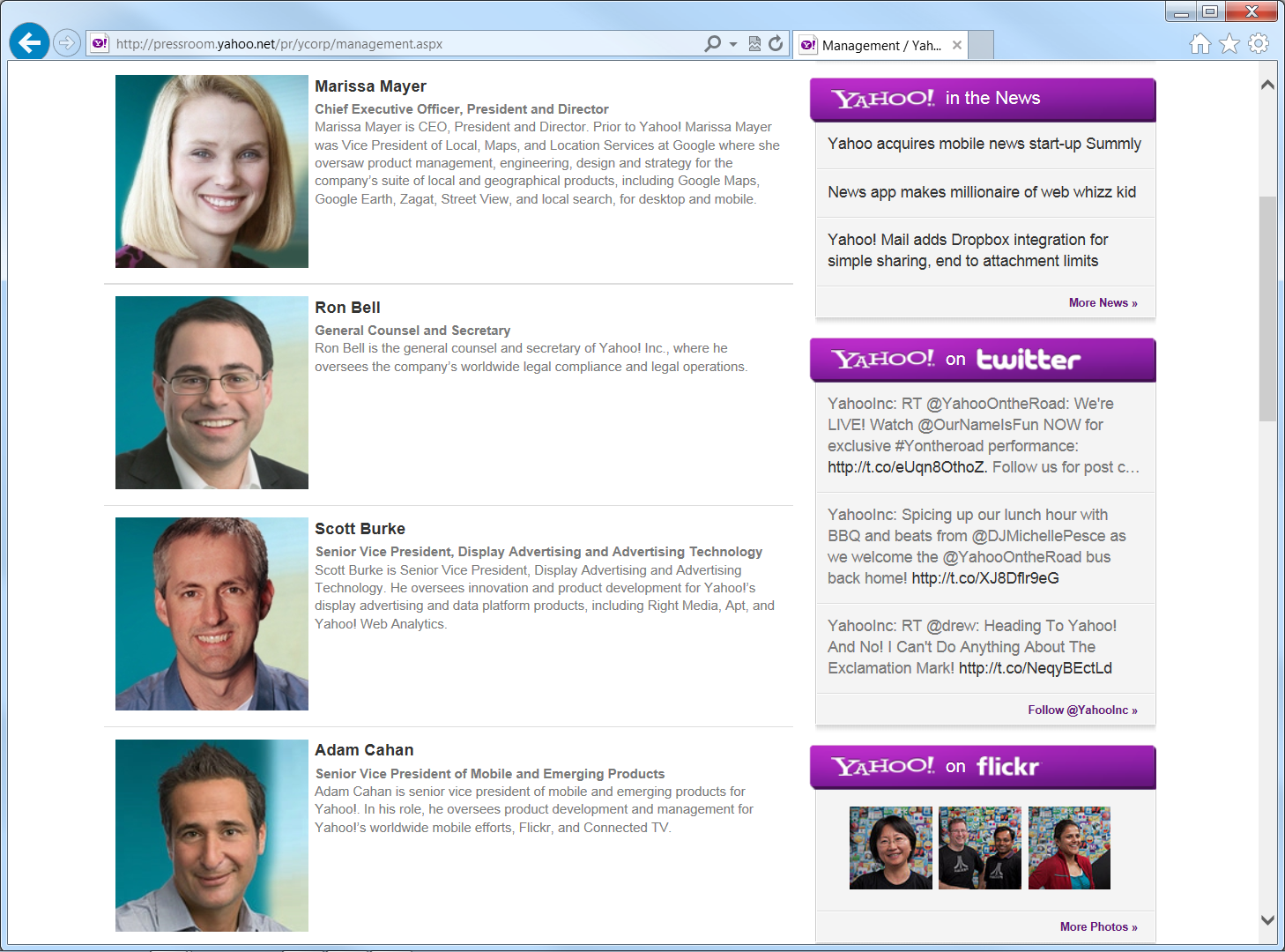 Yahoo Management