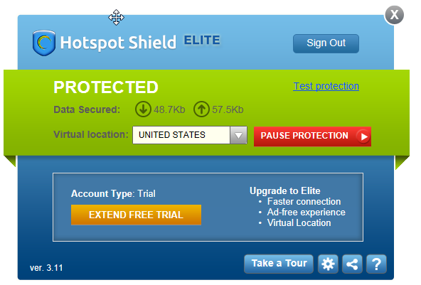 Hotspot Shield Alert Box