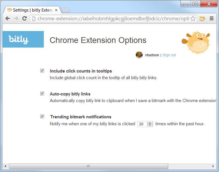 Chrome Extension Bit.ly options