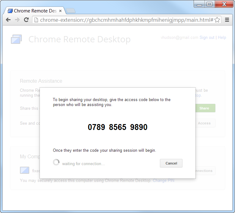 Chrome Remote Desktop Remote Assitance 12 digit share code