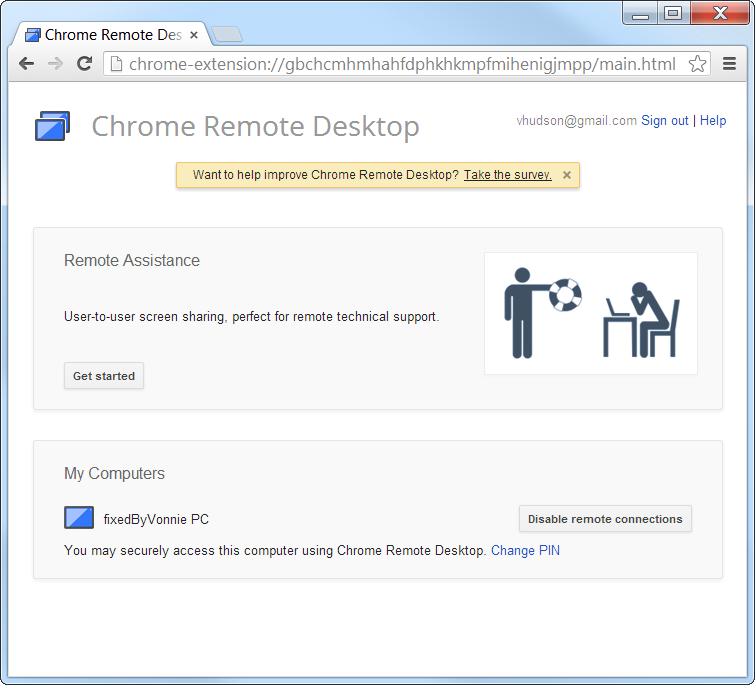 Chrome Remote Desktop connect to your computer