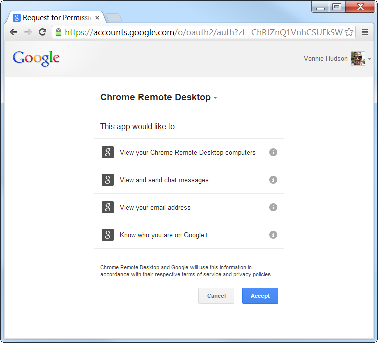 Chrome Remote Desktop Permissions
