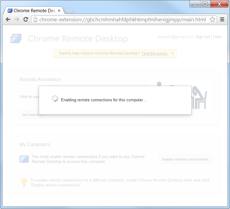 Chrome Remote Desktop Enabling Remote Desktop