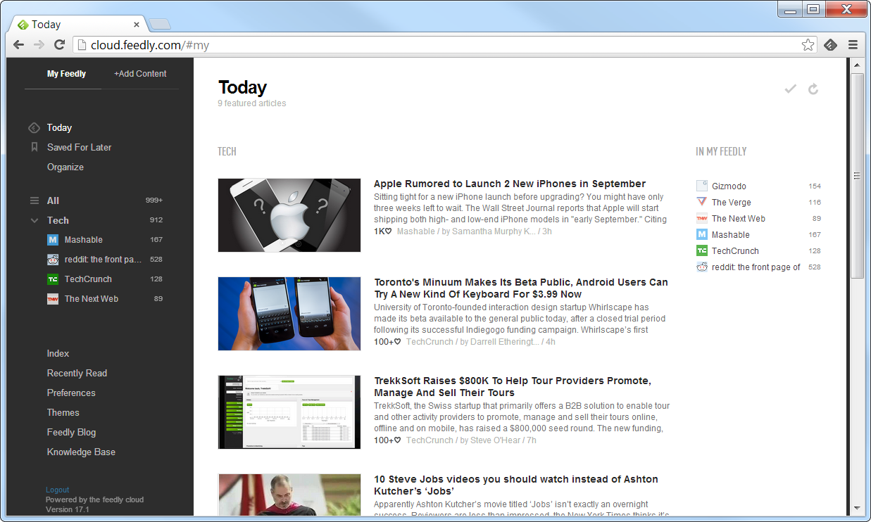 Feedly News Reader Extension for Chrome