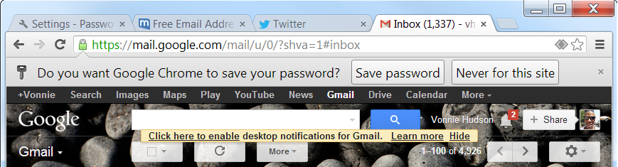 Chrome do you want to save your password?