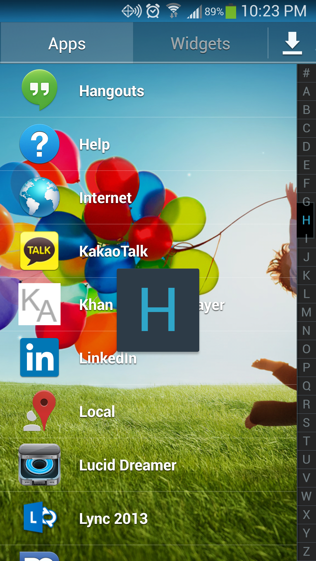 Galaxy View Apps Alphabetically like Contacts