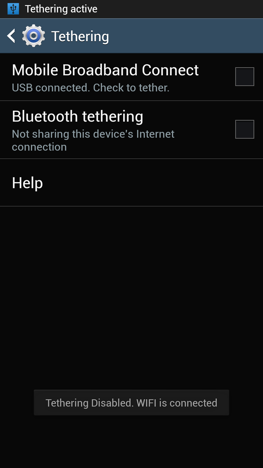 Galaxy S4 Tethering Disabled because Wi-Fi is Enabled