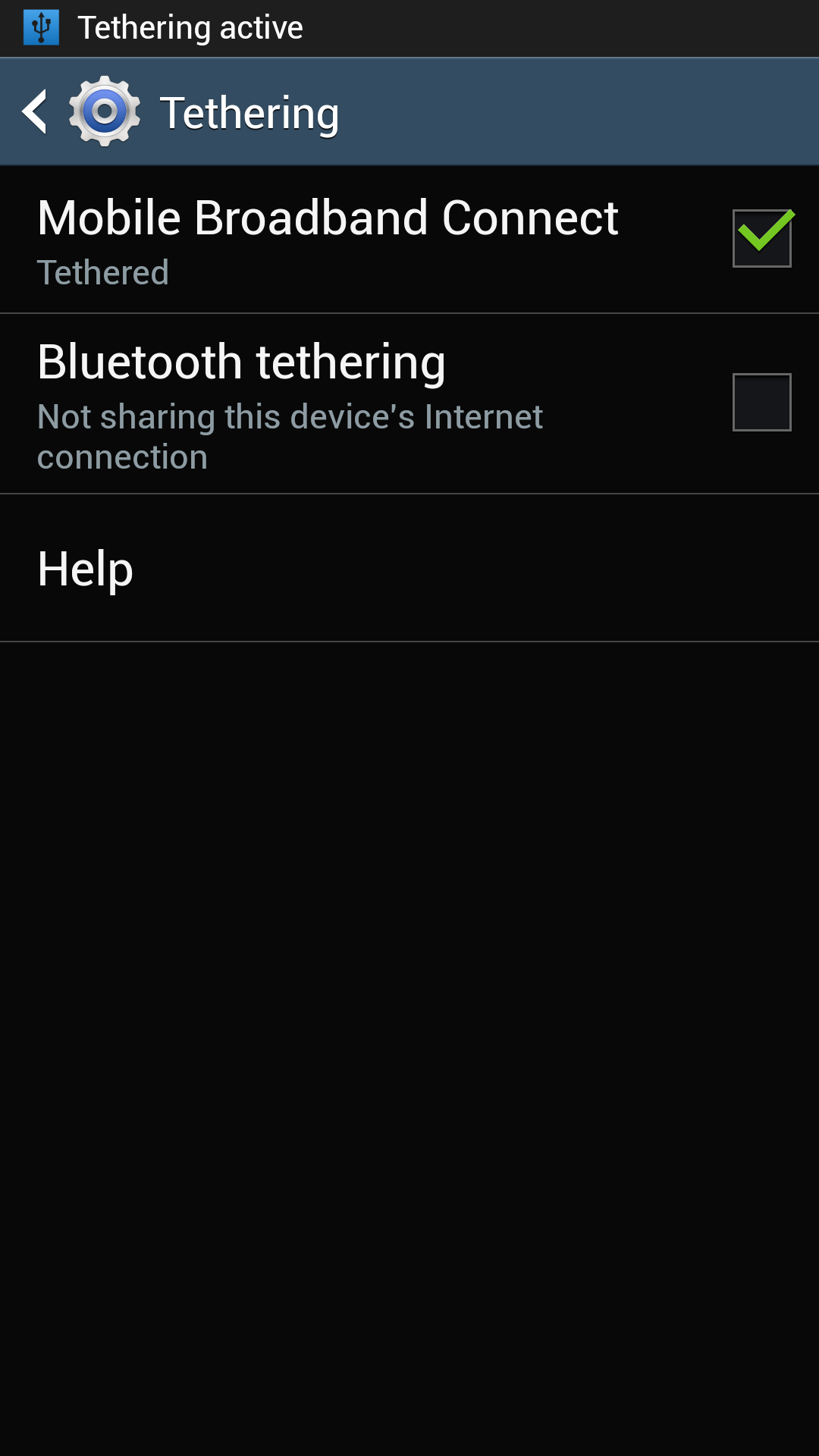 Galaxy S4 USB tethering is active
