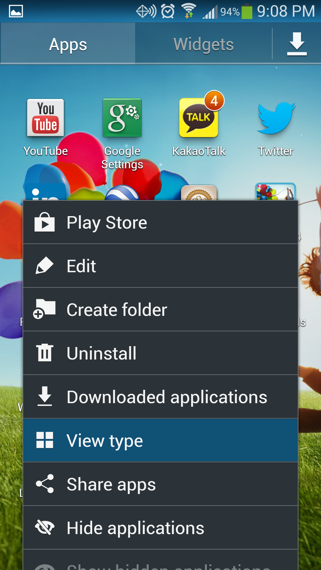 Galaxy S4 View Type