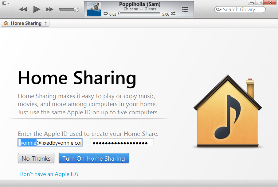 iTunes Home Sharing AppleID