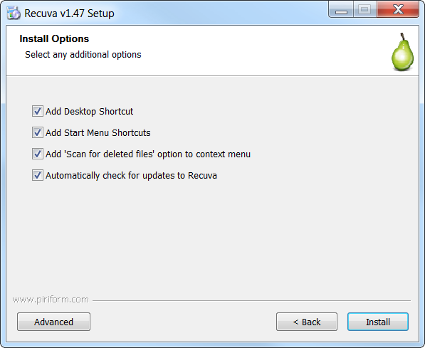Recuva Installation Wizard Install Options