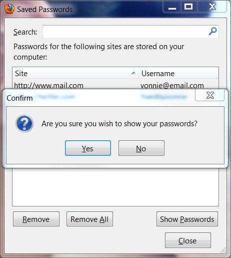 Firefox View Password Settings Confirmation Box