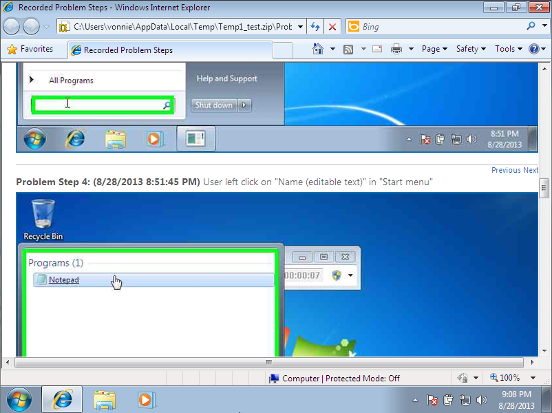 Windows 7 Problem Step Recorder .MHTML results 2