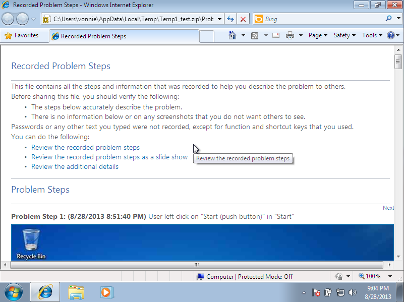 Windows 7 Problem Step Recorder .MHTML results