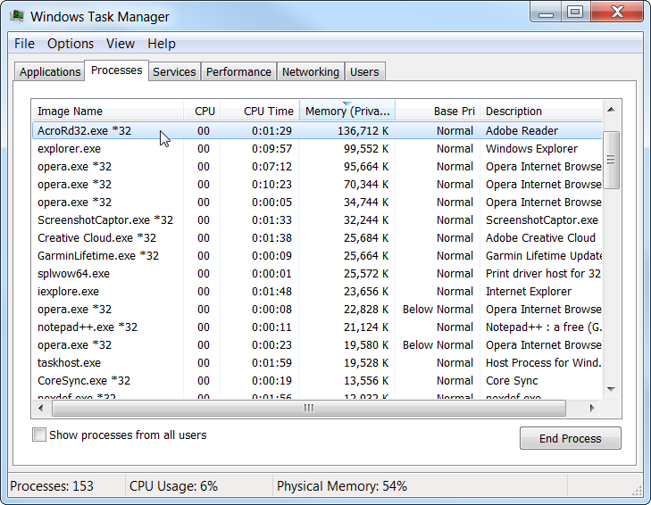 Windows 7 View processes using the most memory